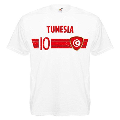 Fußball WM T-Shirt Fan Artikel Nummer 10 - Weltmeisterschaft 2018 - Länder Trikot Jersey Herren Damen Kinder Tunesien Tunisia S
