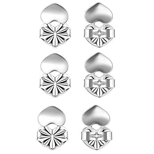 Love Lifters Premium Quality Earring Lifters | GIFT BOX SET | Back Lobe Ear Support | 3-Pair Set of Piercing Ear Lobe Back Lift | Silver or gold plated for Ear Lobe Reinforcement | BONUS Velvet Storage Bag