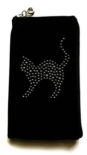Gütersloher Shopkeeper Reissverschluss Handytasche Softcase Schwarz mit Strass Motiv Katze Geeignet für Huawei P20 Lite - Handy Schutz Hülle Slim Case Cover Etui Tasche