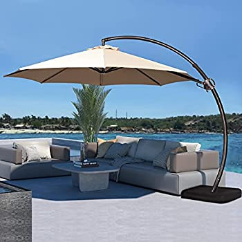 JEAREY 11FT Curvy Cantilever Patio Umbrellas Large Outdoor Heavy Duty Offset Hanging Umbrella with Base for Swimming Pool Garden Porch Deck Lawn Backyard and Market