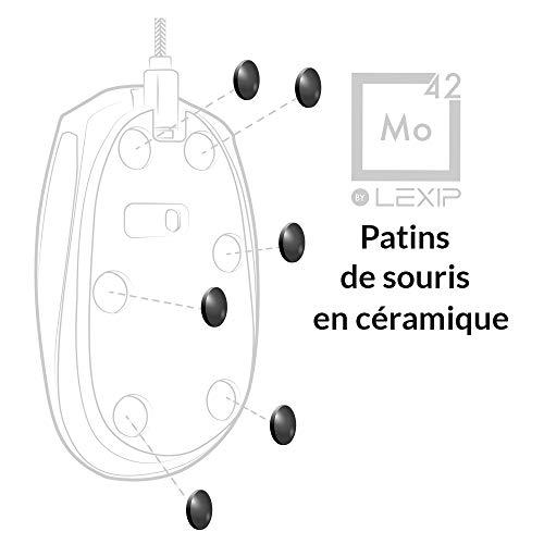 Lexip - Mo42- Patins pour Souris Gamer en Céramique - Inusables, Glisse Incomparable - Compatible Toutes Souris, Laser et Optique - Gagnez en Vitesse, Précision, Contrôle et Confort de Jeu