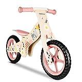 Lalaloom SPRING BIKE - Bicicleta sin pedales de madera para niños de 2 años (diseño con flores, andador para bebe, correpasillos para equilibrio, sillín regulable con ruedas de goma EVA), color Rosa