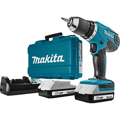 Makita HP457DWE Perceuse visseuse à percussion + 2 batteries 18V 1,5 Ah Li-ion + coffret de transport