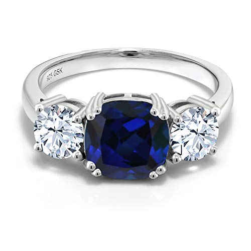 Gem Stone King 925 Sterling Silver Blue Simulated Sapphire Women Meghan Ring (4.00 Ct Cushion) (Size 7)