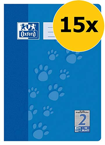 Oxford Schule Schulheft A4, Lineatur 2, 16 Blatt, blau, 15er Pack