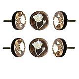 Perilla Home Perilla Home - Juego de 6 pomos de madera con diseño de flor de lirio, para cajón, armario, cajón, aparador, dormitorio, cuarto de baño, cocina, armario