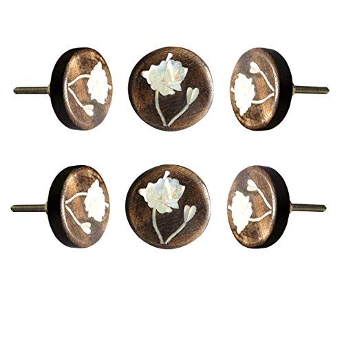Set of 6 MOP Lily Flower Wooden Knob Decorative Antique Vintage Pull for Drawer Cupboard Cabinet Drawer Dresser Bedroom Bathroom Kitchen Wardrobe Dresser by Perilla Home
