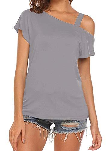 Cyanstyle Womens Short Sleeve Open Shoulder Fashion Shirts Cute Summer Outfit Light Grey Medium