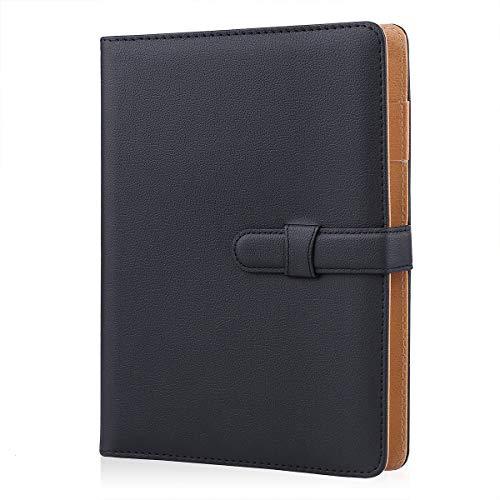 Minlna - Taccuino in pelle, formato A5, ricaricabile, con fogli sciolti, 200 pagine di spessore, con tasca e portapenne, ideale come regalo, colore: nero