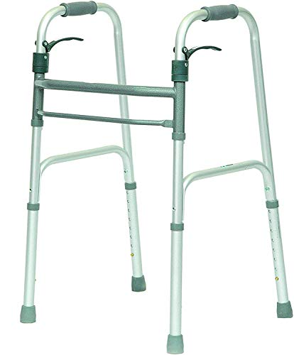 HEALTHLINE Walker Folding Deluxe 2 Button Without Wheels, Lightweight Foldable Mobility Walker No Wheels for Adult Seniors Disabled, Adjustable Height for Short, Average and Tall People