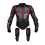 Motorcycle Protective Jacket Full Body Armor, Spine Chest Protection Gear with Knee Pads for Sport Motocross MTB Racing (Red 2XL)