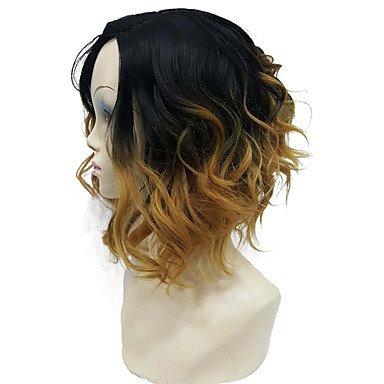 Js-wigs Perruque synthétique ondulée/naturel Wave Bob Coupe Cheveux synthétiques partie centrale Bob/ombre Cheveux/côté supplémentaire Blonde Perruque femme courte sans capuchon
