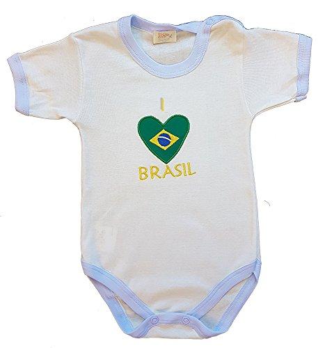 Zigozago - Body Bébé à Manches Courtes avec Broderie Brasil Taille: 3-6 Mois - Couleur: Bleu