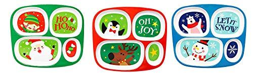 4 Section Melamine Children's Plates: Santa and Penguin Designs (3 Plates Total)