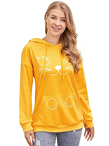 JMEIM Sudaderas con capucha para las mujeres sudadera con capucha lindo gato jumpers manga larga Tops casual sudaderas para las mujeres con bolsillos amarillo, albaricoque, XXL