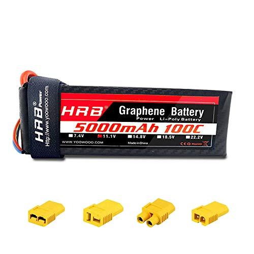 HRB 3S Graphene Batterie 11.1V 5000mAh 100C Graphen Lipo Batterie mit XT60 Stecker Adapter Deans T Traxxas EC3 für RC Hubschrauber Quadcopter Flugzeug Auto LKW Boot Drohne und FPV
