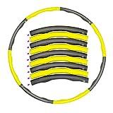 YRWL Aro de fitness para hula de fitness, plegable, con peso de 1 kg, diseño desmontable de 8 secciones, anillo de adelgazamiento acolchado de espuma, regalo para mujeres (amarillo+gris)