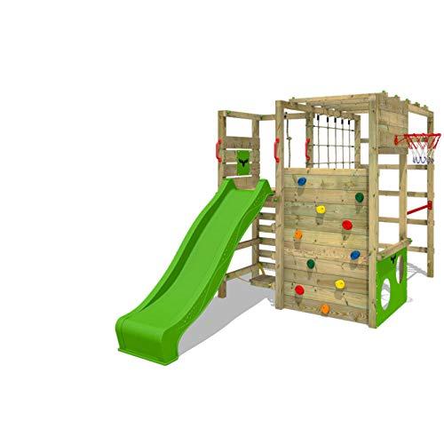 FATMOOSE Klettergerüst Spielturm ActionArena mit apfelgrüner Rutsche, Gartenspielgerät mit Leiter & Spiel-Zubehör
