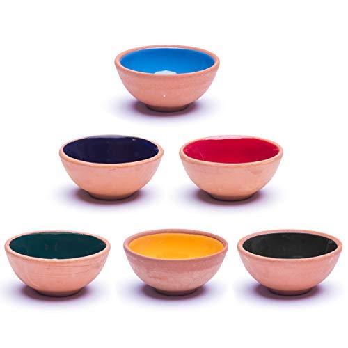 Kleine Keramikschalen 6er Set - Snackschalen für Tapas, Dessert, Nüsse, Olive, Sojasauce Dish, Dipschalen, Sushi Zutaten - Bunte Deko Marokkanisch Spanisch Mexikanisch Mandala - Smoothie Bowl