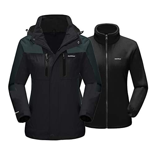 TACVASEN Womens 3 in 1 Jackets Waterproof Hiking Jacket Ladies Fleece Winter Warm Snow Ski Coat