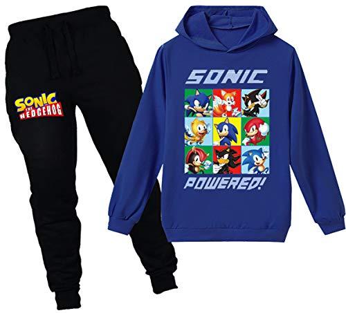 Silver Basic Sudadera con Capucha y Pantalón Sonic The Hedgehog para Niñas...