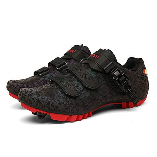 Antideslizante Zapatos De Ciclo, Transpirable Fibra De Carbono Carretera Ultralight Profesionales Respirables Al Aire Libre De Los Zapatos De Ciclismo Zapatillas De Ciclismo De Ru(Size:46,Color:negro)