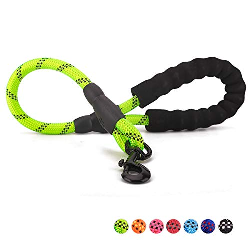 voopet 2 Feet Nylon Dog Leash, Strong Leash with Highly Reflective Threads for Medium Large Heavy Duty Dog Leads, Easy Control with Short Dog Leash for Climbing Training Walking and Guiding Blind
