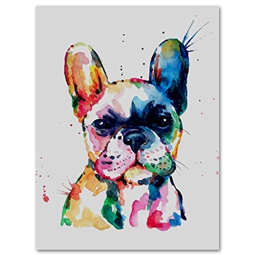 Anna Cowper Frenchie French Bulldog Watercolor Funny Canvas Prints Wall Art Paintings Wall Artworks Pictures for Living Room Bedroom Decoration, 11.8x15.7 inch Home Bathroom Wall Decor Posters