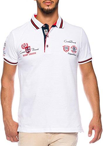 CARISMA Herren Polo-Shirt mit Stickerei, White, XL