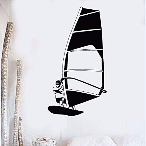 mlpnko Surfing Wandaufkleber Vinyl Wandtattoo Windsurfen Windsurfen Wassersport Wandbild Strand Stil 37X68cm