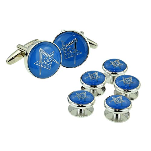 RGT GTR Men's Cufflinks Silver and Blue Enamelled Masonic and Button Stud Set with G (X2Aj321A) One Size