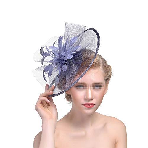 Arielflora-Accessoires Chapeau De Fascinators Fascinators Hat Flower Mesh Ribband Bandeau et Coiffe de théière Clip pour Les Filles et Les Femmes pour Cocktail Royal Ascot (Color : Silver Gray)