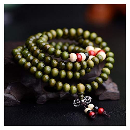 HUIJUNWENTI Perlas de oración Mala 108 Cuentas Pulseras 8mm Natural Sandalia Buddhist Buda Buda Beads Unisex Hombres Pulseras y Brazaletes Joyería (Color : Verde)