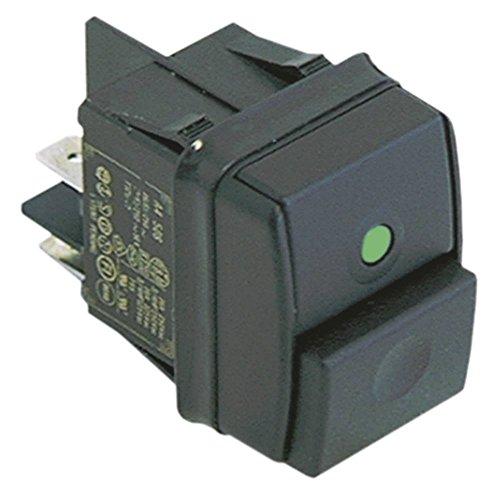 Impression Dimensions d'encastrement Interrupteur Lumineux Vert 30 x 22 mm 2 NO 2 broches 250 V 12 A pour Blanco