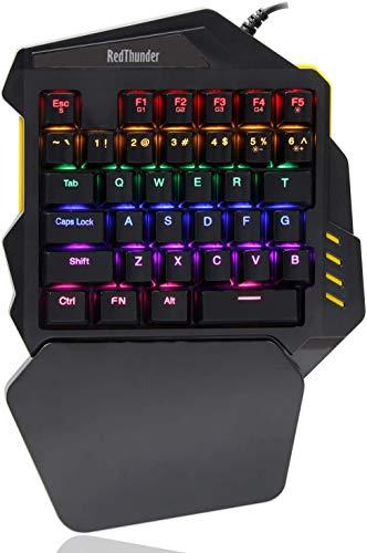 RedThunder G94 Mechanische Einhand Gaming-Tastatur, Blaue Tasten, LED-Hintergrundbeleuchtung, Tragbare Mini-Gaming-Tastatur, Ergonomischer Spiele-Controller für PC / MAC / PS4 / Xbox One