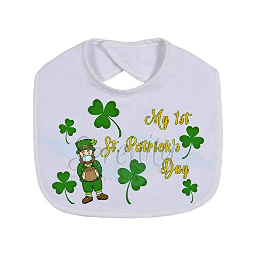 Baby's 1st St Paddy's Day Gifts   First St Patricks Day   Leprechaun With Mask 2021 Bib Baby Drool   Cute Gift New Parents Mom Dad Presents   Cloth Machine Washable   Infant Shower Gifts For Boy Girl