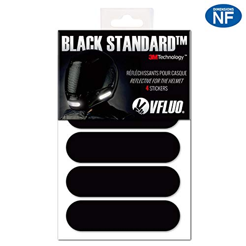 VFLUO BLACK STANDARD. 4 retro reflective stickers kit for motorbike Helmet. Night visibility. 3M Technology. Black