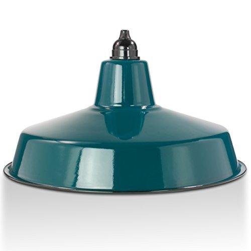 Industrie Lampenschirm Emaille Petrol Blau (2. Wahl), Fabriklampe Ø36 cm inkl. Fassung aus Bakelit