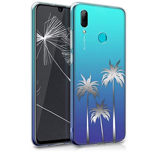 kwmobile Carcasa Compatible con Huawei P Smart (2019) - Funda de TPU Tres Palmeras en Plata/Transparente