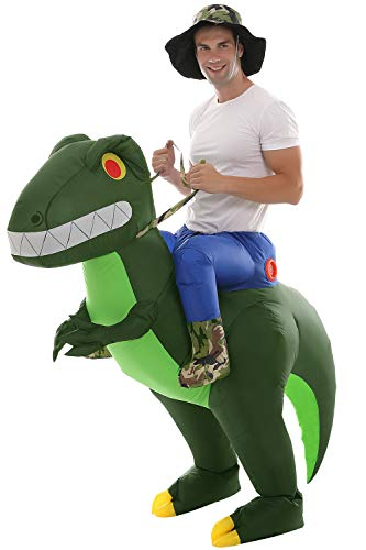 Inflatable Dinosaur T-Rex Costume Fancy Dress New Years Blow up Costumes (Army Green Adult)