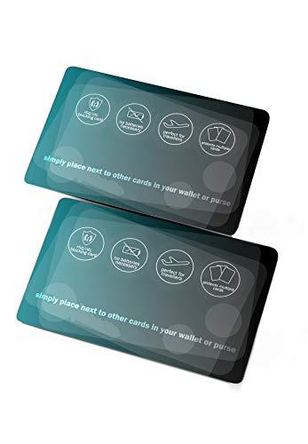 NEVEQ RFID Blocker Karten mit Störsender für Kreditkarten, Bankkarten, Ausweise, Reisepass. Schutzkarte NFC Signal Blockierkarten gegen Datenklau (Schwarz-Grün), 2 STK.