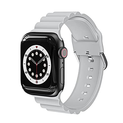 AISPORTS Compatible con Apple Watch Correa 44mm 42mm de Silicona para Mujeres y Hombres,Pulsera Deportiva Informal de Negocios Suave Correa de Repuesto para Apple Watch SE/iWatch Series 6/5/4/3/2/1