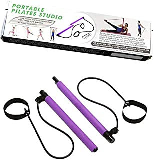 SIZOO - Resistance Bands - Portable Pilates Bar Kit Yoga Pilates Stick Muscle Toning Bar with Resistance Bands Foot Loop F...