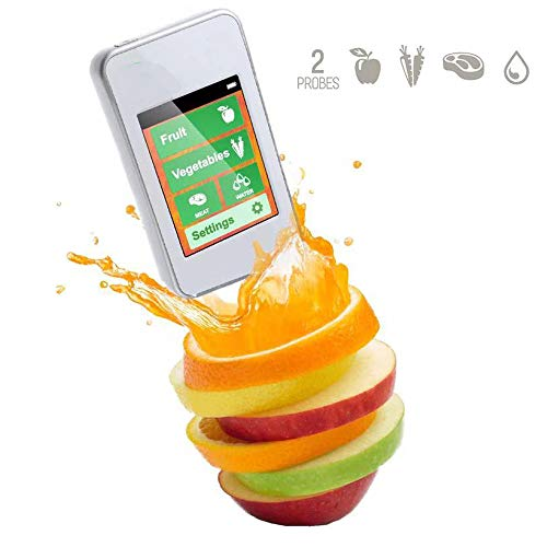 GMKD Digital Food Tester nitrato, Alta Precisión portátil de Frutas y Verduras con Detector de nitrato de Doble sonda, contadores de Agua TDS del probador del Metro de Las Frutas, Verduras, Carne