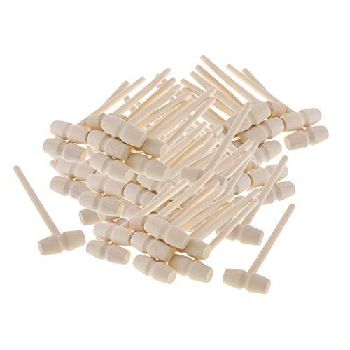 T TOOYFUL 80 Stück Holzhammer Schreinerklüpfel Klüpfel Klopfholz aus stabilem Holz