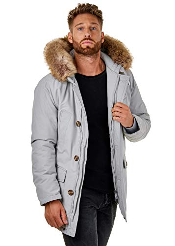 Burocs BR1840-05 Herren Parka Winter-Jacke Kapuze Schwarz Khaki Navy Grau, Größe:M, Farbe:Grau