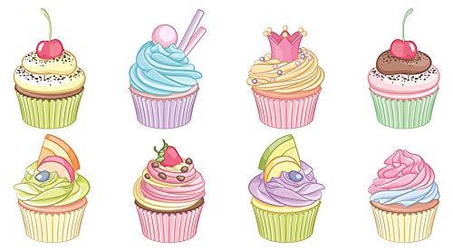 Wandtattoo Küche Cupcakes mit Toppings Wandsticker Esszimmer Kuchen Dekoration