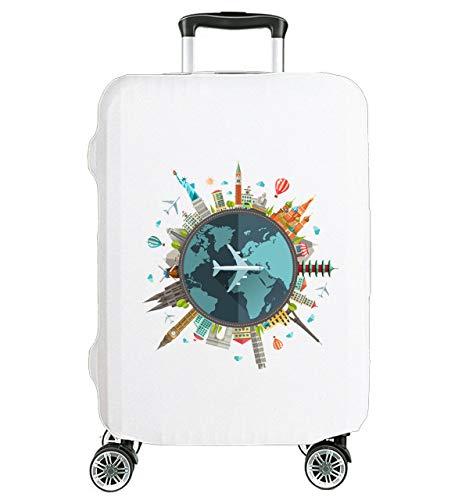 Hochelastische Reise-Koffer Abdeckung Schutzabdeckung Kofferschutzhülle Kofferbezug Kofferhülle weiß Globus-Welt Mittel 23