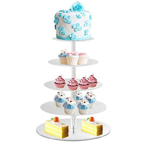 BATHWA 5 Etagen Tortenständer Kuchenständer Cupcake Ständer Tortenplatte Hochzeitstorte Deko Gestell für Geburtstag, Hochzeit und Party