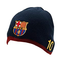 SUPPORT YOUR FC BARCELONA SOCCER TEAM: Our knitted cap lets everyone know who you're cheering for - whether it's game day or not! Celebrate Messi #10. OFFICIAL FC BARCELONA MESSI GEAR: Not all beanies are created equal. This blue knitted beanie is an...